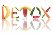 pic of smoothies  - Detox text letters including fruit vegetables and a smoothie beverage - JPG