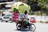 picture of oversize load  - Skillful motorbike driver with a big stack of fresh vegetables on the streets of Phnom Penh Cambodia - JPG