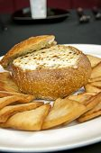 picture of artichoke hearts  - artichoke heart cheese dip appetizer with toast points - JPG