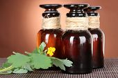 picture of celandine  - Blooming Celandine with medicine bottles on table on brown background - JPG