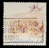 AUSTRALIA - CIRCA 1990: A stamp printed in Australia shows Off to the Diggings, circa 1990