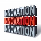 3D Red Word Innovation
