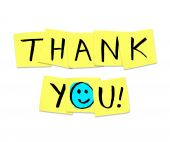 image of thank you note  - The words Thank You written on yellow sticky notes - JPG