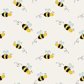 pic of bee cartoon  - Cute background with cartoon bees - JPG