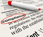 picture of glossary  - Compliance word circled dictionary definition meaning rules regulations laws - JPG