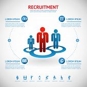 stock photo of recruitment  - vector recruitment and human resource infographics template with space for text - JPG