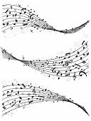 image of divergent  - Set of three different wavy lines or staves of random scattered music notes in black and white  vector illutrsation - JPG