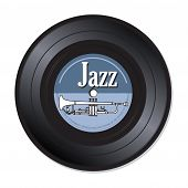 picture of trumpets  - Isolated vinyl record with a white trumpet and the word jazz written with white letters - JPG