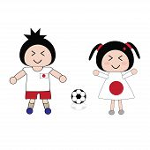 pic of japan girl  - vector boy and girl in Japan football uniform - JPG