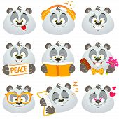 picture of panda  - illustration set of funny and cute emoticons panda on white background - JPG