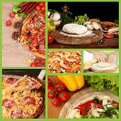stock photo of hot fresh pizza  - Collage of preparing pizza - JPG