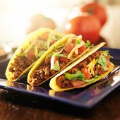 picture of tacos  - three beef tacos with cheese - JPG