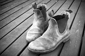 picture of work boots  - A well worn pair of classic Australian work boots - JPG