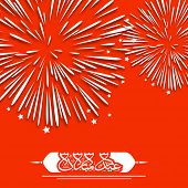 picture of ramazan mubarak  - Arabic Islamic calligraphy of text Eid Mubarak on fire crackers explosion red  background for celebration of Muslim community festival - JPG