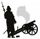 stock photo of conquistadors  - Conquistador with cannon detailed vector silhouette - JPG