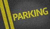 image of parking lot  - Parking written on the road - JPG