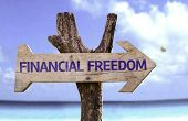 picture of financial  - Financial Freedom wooden sign with a beach on background  - JPG