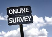 stock photo of performance evaluation  - Online Survey sign with clouds and sky background - JPG