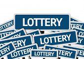 stock photo of raffle prize  - Lottery written on multiple blue road sign  - JPG
