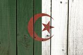 stock photo of algiers  - Algeria flag on wooden background  - JPG
