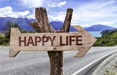 foto of prosperity sign  - Happy Life wooden sign with a street background  - JPG