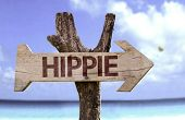picture of hippy  - Hippie wooden sign with a beach on background - JPG