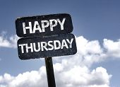 image of thursday  - Happy Thursday sign with clouds and sky background - JPG