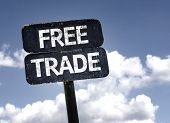 image of free-trade  - Free Trade sign with clouds and sky background - JPG