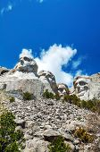 stock photo of mount rushmore national memorial  - Mount Rushmore monument in South Dakota in the morning - JPG