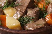 pic of stew pot  - beef stew with vegetables and dill in a pot macro - JPG