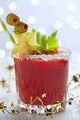 foto of bloody  - Bloody Mary Cocktail with olives  for Christmas