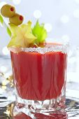 picture of mary  - Bloody Mary Cocktail with olives  for Christmas
