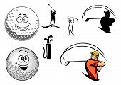 picture of ball cap  - Set of golfing icons with various golfers swinging at the ball - JPG