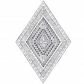 image of tribal  - Original drawing ethnic tribal doddle rhombus 4 - JPG