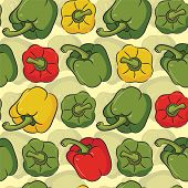 image of yellow-pepper  - many peppers on yellow background in seamless pattern - JPG