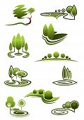 pic of tree leaves  - Green trees in landscapes icons with stylized rows or stands of trees in swirling scenery - JPG