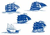 picture of tall ship  - Ancient and medieval sailing ships in blue silhouette showing various tall ships with two or three masts - JPG