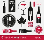 stock photo of food label  - Set of wine labels or logo - JPG