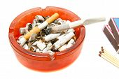 picture of butts  - matches butts and cigarette closeup on white background - JPG