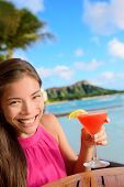picture of hawaiian girl  - Cocktail woman drinking alcohol drinks at beach bar resort in Waikiki - JPG