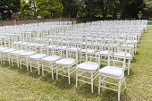 pic of lawn chair  - White chairs dozens positioned on grass lawn outdoors for private wedding occasion - JPG