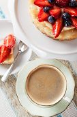 picture of custard  - Coffee and tartlet with custard and berries - JPG
