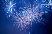 picture of firework display  - Blue colorful fireworks on the black sky background - JPG