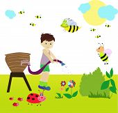 stock photo of water bug  - Illustration of a little boy working in the garden - JPG