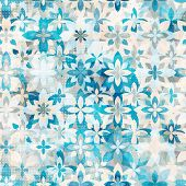 picture of christmas flower  - blue snow flowers seamless pattern  - JPG