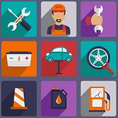 picture of garage  - Car repair icons set with mechanic service and garage tools vector illustration - JPG