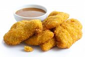 picture of curry chicken  - Golden fried chicken strips on white - JPG