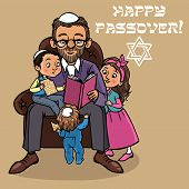 picture of matzah  - Jewish family reading passover story  - JPG