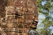 stock photo of stone sculpture  - stone sculpture of buddha in bayon site - JPG