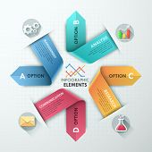 picture of curves  - Modern infographics options banner with 4 realistic curved colorful ribbons - JPG